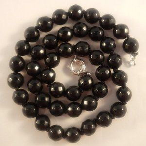"""AAA Black Onyx Agate Stone Bead Necklace 18"""""""